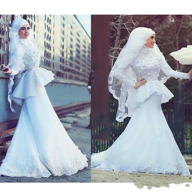 Arab Saudi Arabia Modest Muslim Wedding Dresses Long Sleeve Lace ...
