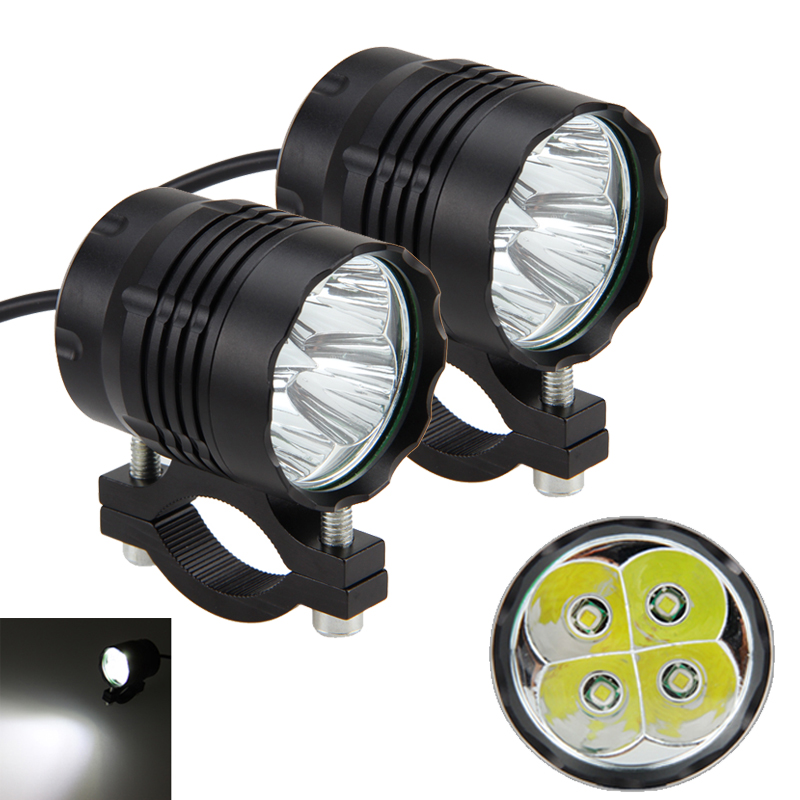 1 Or 2PC 5 Modes High Low Mid Strobe SOS 40W 4000LM 6500K 4V-84V Motorcycle 4x XM-L T6 LED Driving Headlight Fog Lamp Spot Light