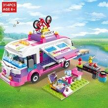 314Pcs City Girl Princess Outing Bus Car Building Blocks Sets Friends Figures Bricks Playmobil LegoINGLs DIY Toys for Children