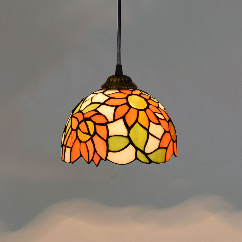 Sun flower Countryside Restaurant Art lighting Bar terrace Stained glass Aisle Small Pendant Lights E27 110-240V 8inch 20CM squared countryside iron art storage barrel flower implement brown green
