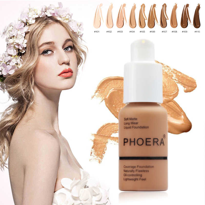 PHOERA Whitening Liquid Full Cover Concealer Foundation Facial Base Cream Brighten Moisturizer Mineral Makeup Primer BTZ1 TSLM1