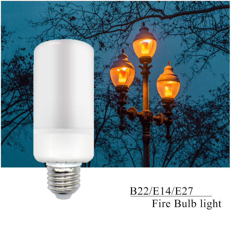 New Arrival E27 E14 B22 2835SMD LED lamp Flame Effect Fire Light Bulbs 5W Flickering Emulation flame Lights AC85-265V ...
