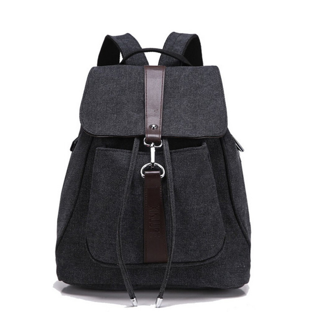 Women 39 S Girls 39 Fashion Canvas Travel Backpack College School Bag Black Lady Female Casual Bags
