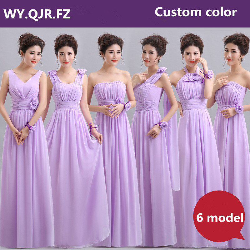 QNZL70Z#Halter neck Lace Up Chiffon Purple Champagne pink Bridesmaid Dresses Long wholesale Custom wedding party dress Flower
