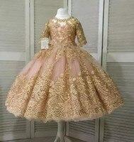 Румяна Паффи Принцесса Платье в цветочек для девочек 2019 реальное изображение роскошные золотые кружева аппликация для маленьких девочек Д
