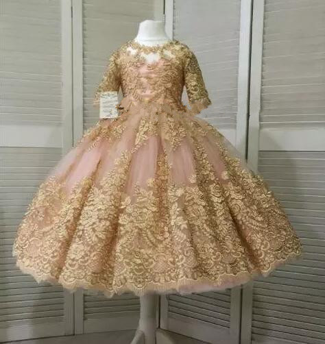 Blush Puffy Princess Flower Girls Dresses 2019 Real Image Luxury Gold Lace Applique Baby Girls Birthday Party Gown Custom Made cute ball gown baby girls birthday dresses lace applique infant girls dress custom made