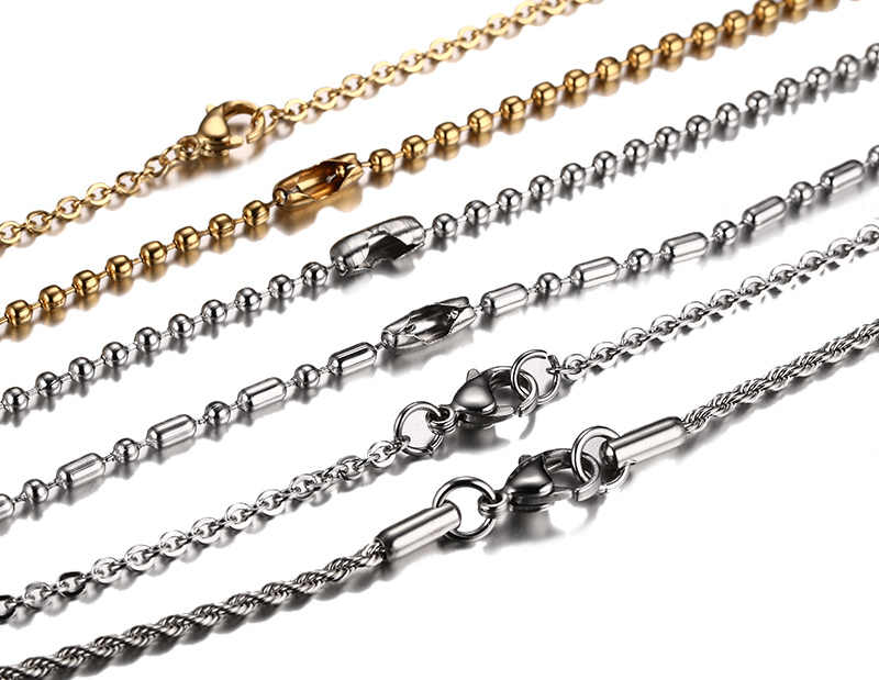 Vnox DIY Chain Necklace Stainless Steel Women Men Jewelry Snake Round Beads for Pendant Accessories