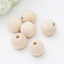 DIY 30PCS Natural Ball Round Thread wooden Spacer Beads Eco-Friendly Natural Color Wood Beads Lead-Free Wooden Balls 12*12mm(China)