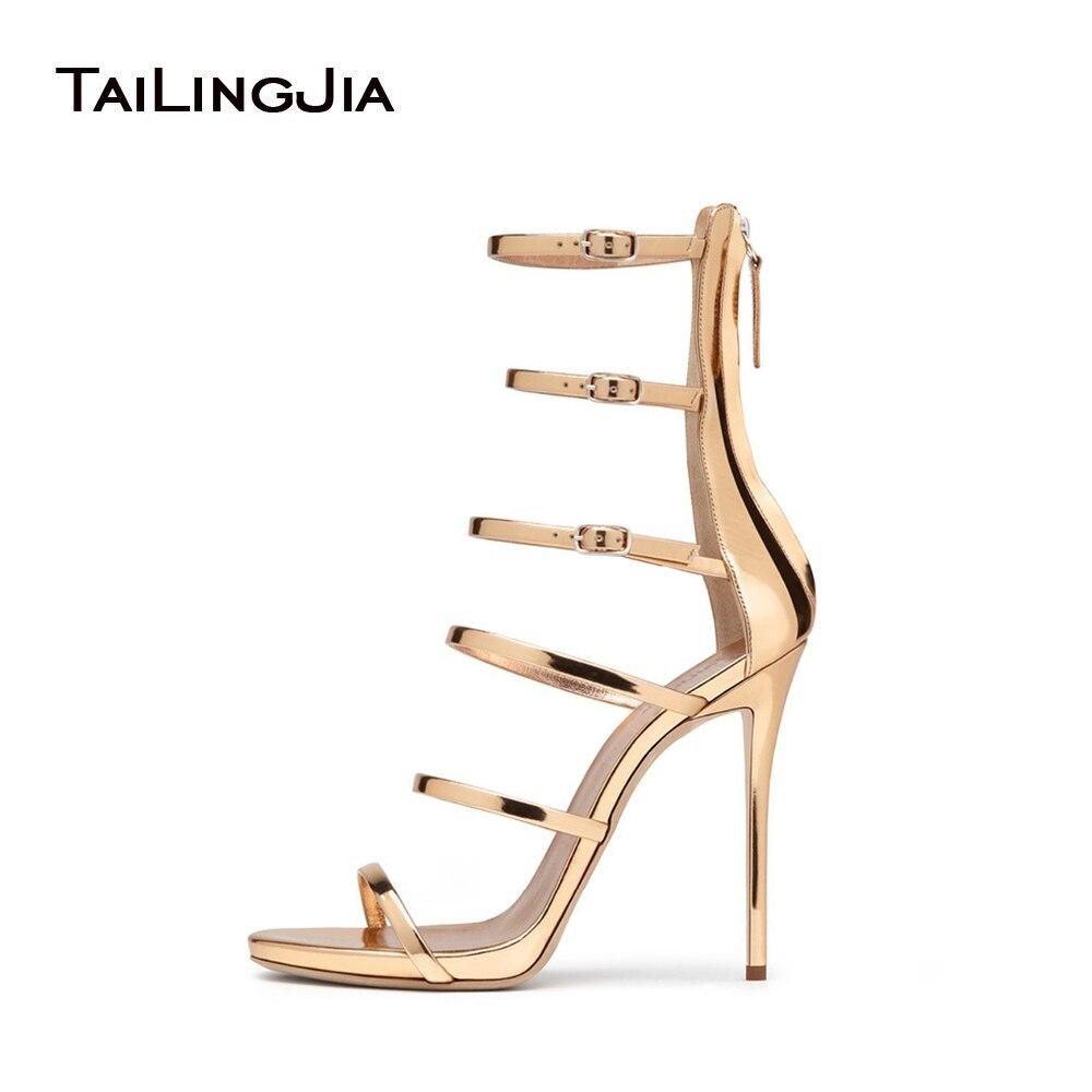 TLJ 2018 Sexy Women's Shiny Rose Gold Sliver Purple Strappy Sandals 6 Straps Gladiator Wrap Shoes Ladies Summer Heels Stilettos