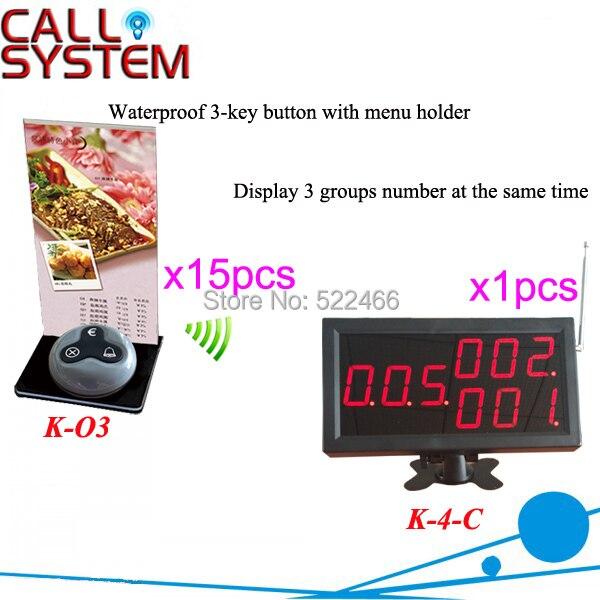 Bilgisayar ve Ofis'ten Çağrı Cih.'de Kablosuz Çağrı Sistemi 433.92 MHz ile 15 adet çağrı düğmesi ve 1 numara ekran DHL ücretsiz kargo title=