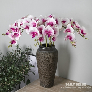 3D Real touch 9 heads artificial silicone butterfly orchids wholesale felt latex flowers wedding decorative Phalaenopsis 10pcs