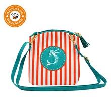 Фотография BONAMIE 2018 Brand Women Messenger Bag Mermaid Pattern Tassel Beach Bag Female Cute Stripe Crossbody Bag Girl Beach Shoulder Bag