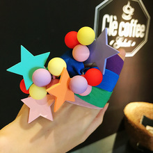 цена на Colorful Star Shinny Dolls Cartoon Elastic Hair Band korea Hair Accessories For Girls Handmade Hair Tie Head Band Rubber Band