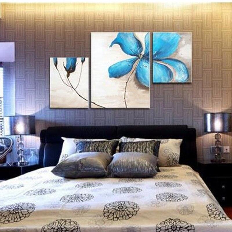 3 Panel Foto handgeschilderde Acryl Bloemen Schilderijen Slaapkamer ...