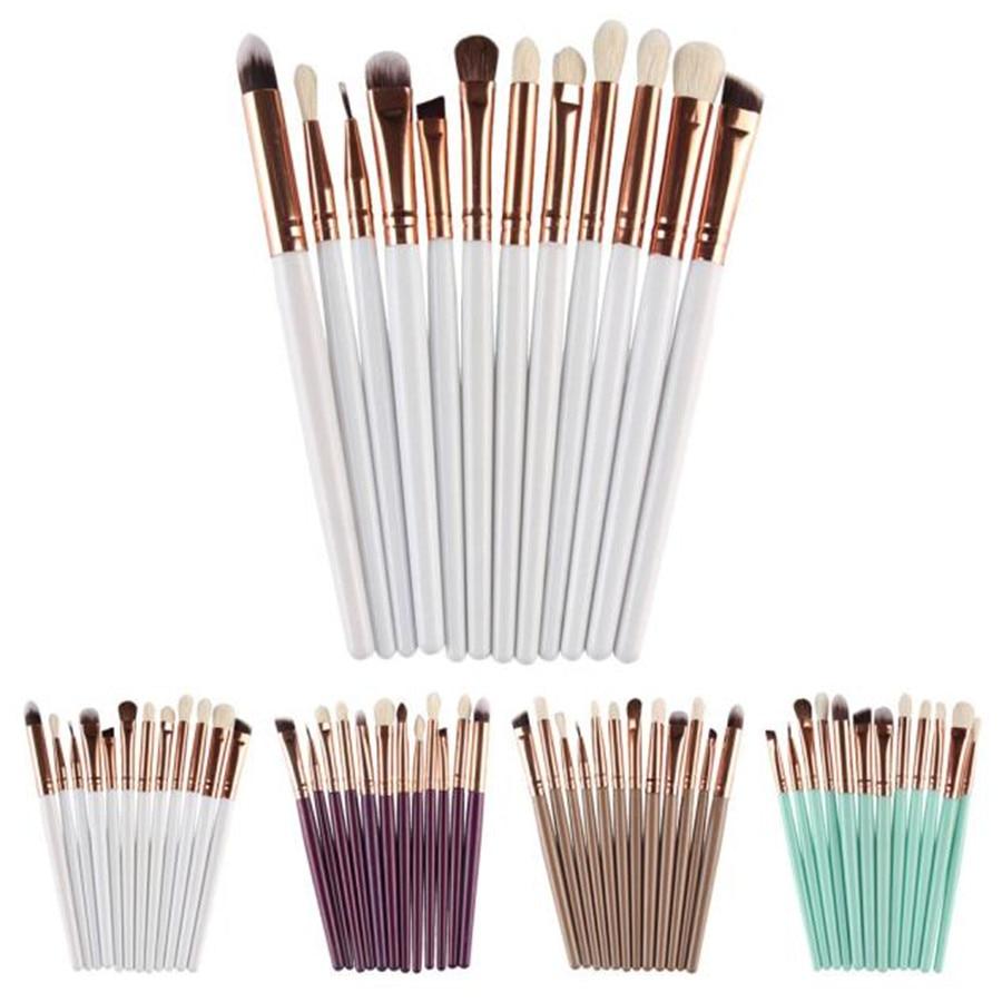 12Pcs Beauty White&Khaki&Purple&Green Cosmetic Brush Makeup Brush Sets Kits Tools outtop best deal new good quality 9pcs cosmetic brush makeup brush sets kits tools 1 set gift