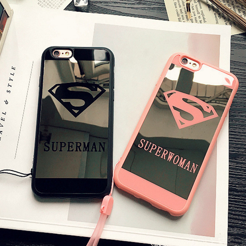 Fashion Superman Superwoman Mirror Surface Phone Cases Coque Back Cover for iPhone 6s 6 Plus Case