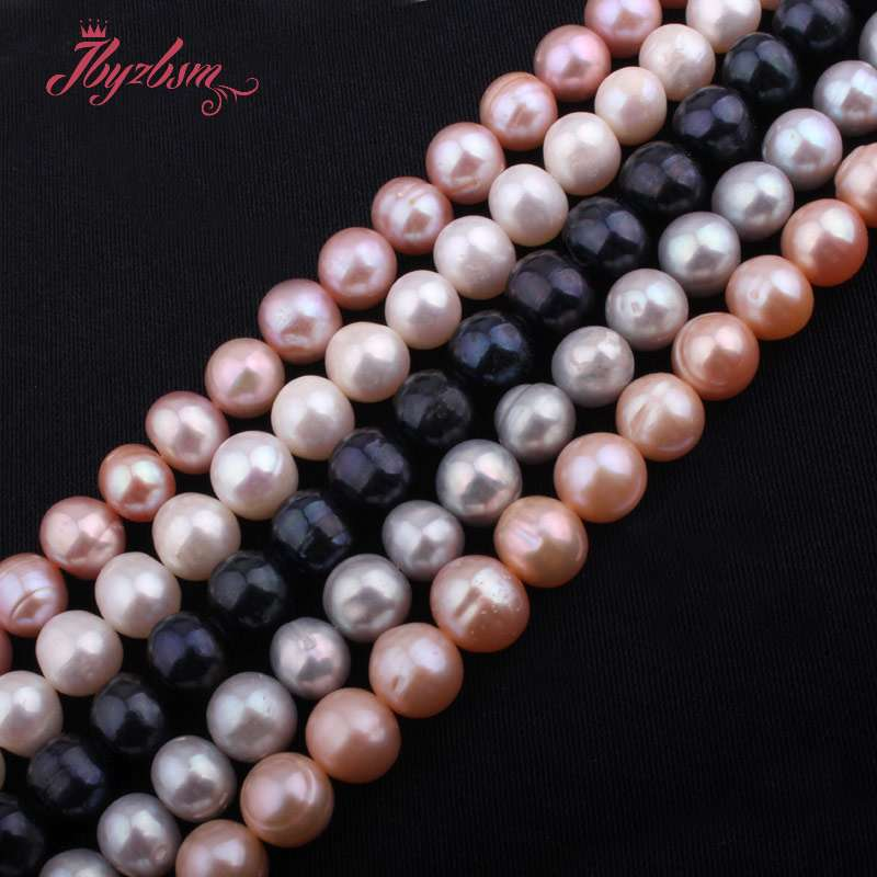 Beads 10mm Half Drilling Freshwater Pearl Beads Natural Stone Beads 1 Pair For Diy Earring Jewelry Making,wholesale Free Shipping Lustrous