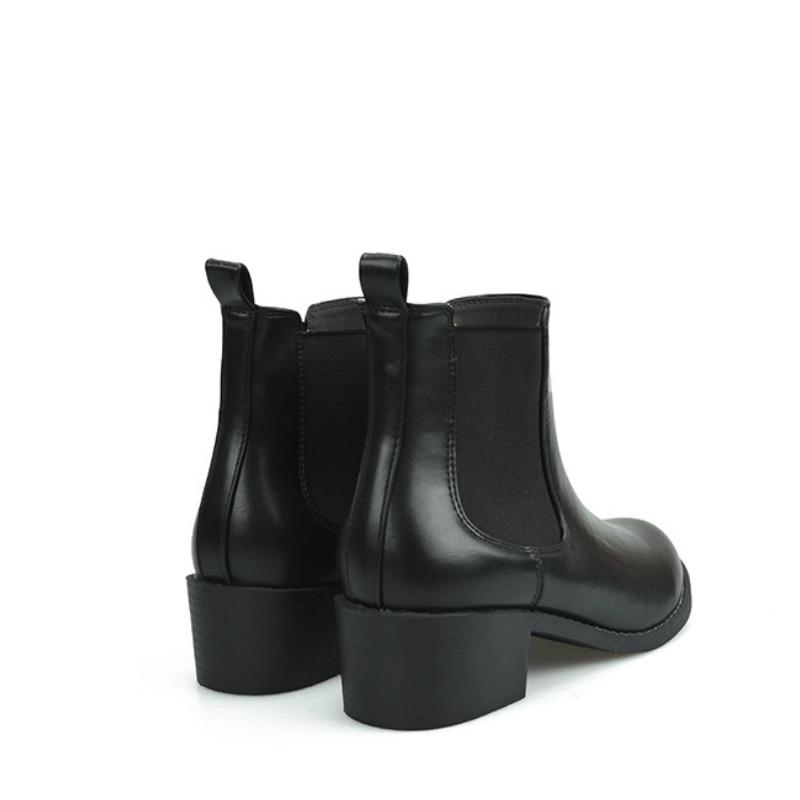 Confortable Femmes Bottes Mat Chaussons 2018 Noir Nouveau De En Chaussures Joker Cuir marron Chelsea Fond Élastique Véritable Plat nPk0wO