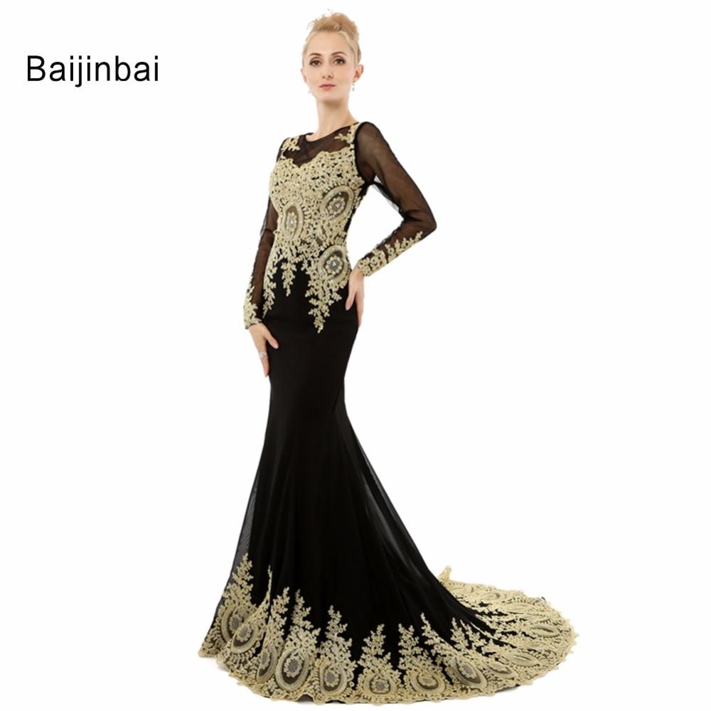 83a2e431aa Baijinbai prawdziwe 2019 Hot sprzedam Sexy czarny długim rękawem klasyczny  modny wycięciem Organza długa suknia wieczorowa suknie wieczorowe