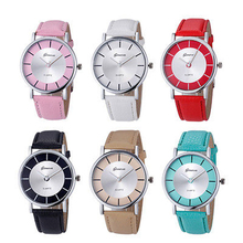 Women Retro Round Dial Faux Leather Strap Analog Geneva Quartz Wrist Watch