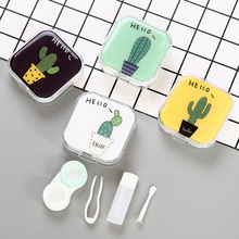 1 pcs Cactus Series Contact Lens Case With Mirror women Colored Lenses box eyes contact lens container Lovely Travel kit