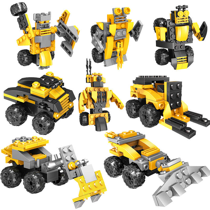 Mini Building Block Engineering truck excavator 2 in 1 Compatible legoIngly Educational Toys for Children Gift
