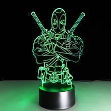 LED Deadpool 3D Night Light Colorful Gradient Table Desk Lamp Child Boy Bedroom Decor Best Toys Gifts Hero Figure Light Fixture