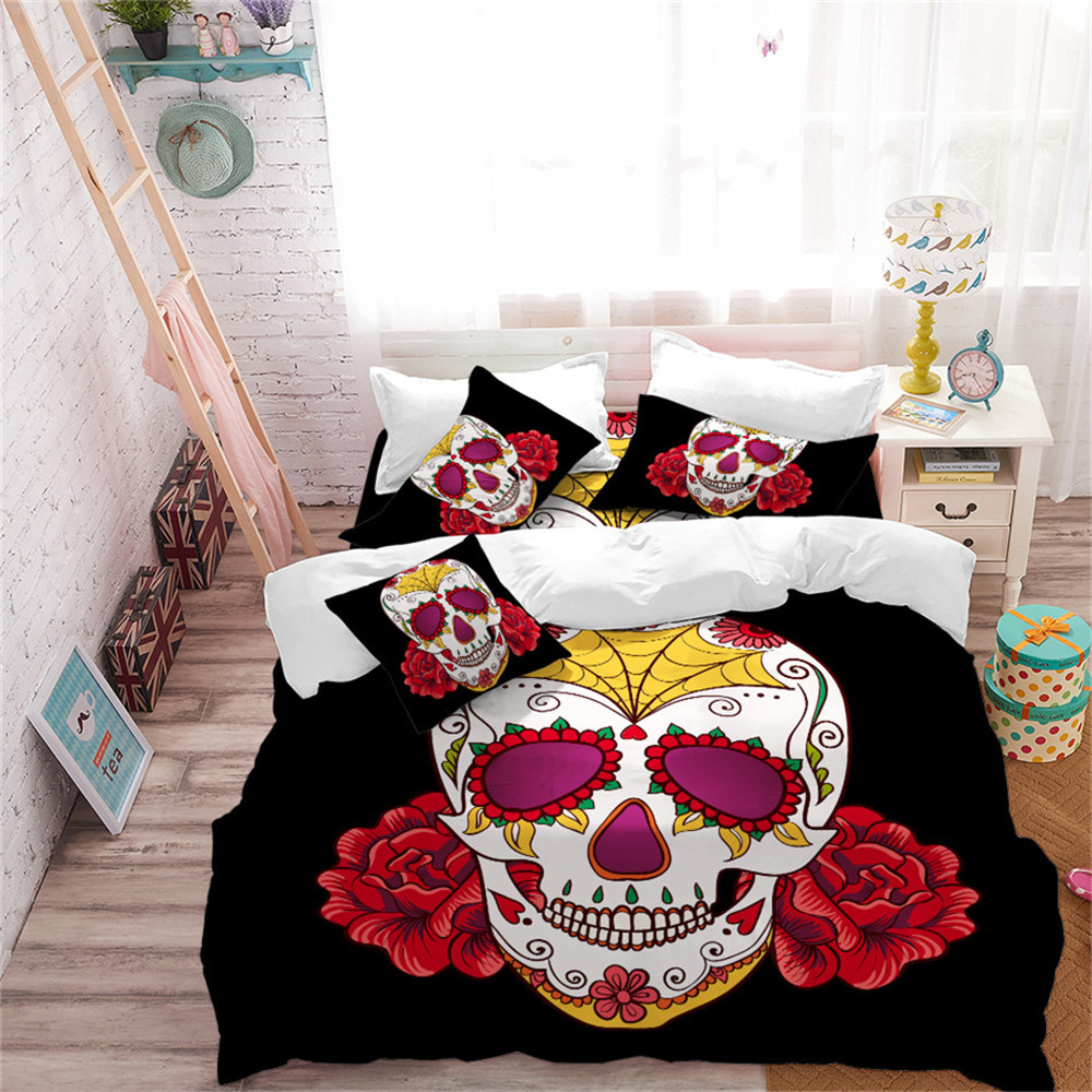 Halloween Sugar Skull Bedding Set Red Flowers Print Duvet Cover Set Bed Linens Flat Sheet Pillowcase Festival Bedclothes D45Halloween Sugar Skull Bedding Set Red Flowers Print Duvet Cover Set Bed Linens Flat Sheet Pillowcase Festival Bedclothes D45