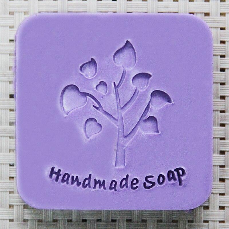 2016 free shipping natural handmade acrylic soap seal stamp mold chapter mini diy tree patterns organic glass  0213