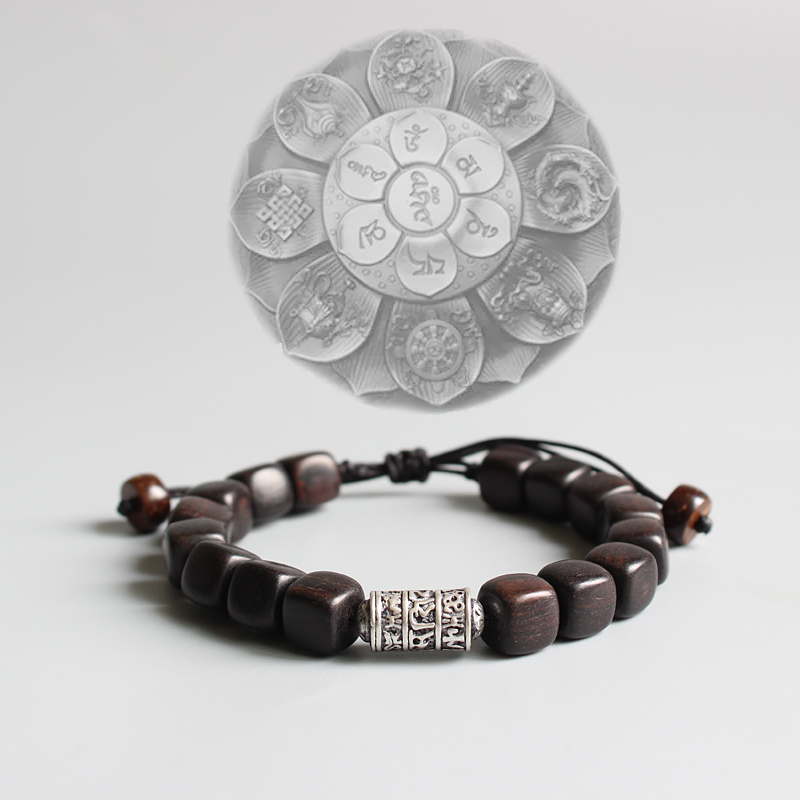 Natürliche Dunkel Sander Holz Mit Tibetischen Buddhismus Amulett Om Mani Padme Hum Charme Armband Für Mann Frauen Glück Armband Handgemachte