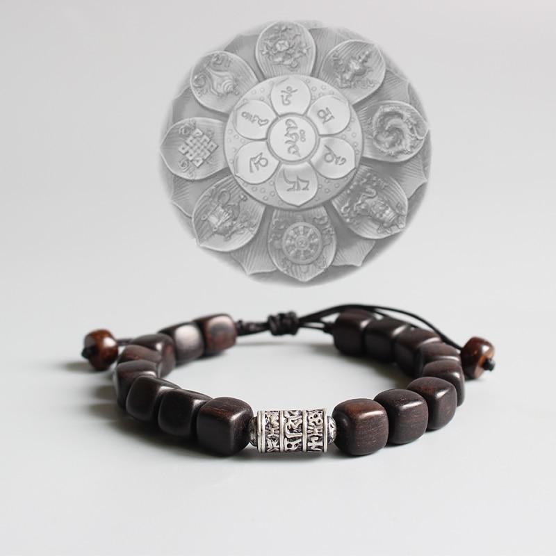 Scuro naturale Legno Levigatrice Con Buddismo Tibetano Amuleto Om Mani Padme Hum Braccialetto di Fascino Per Le Donne Uomo Fortunato Braccialetto Handmade