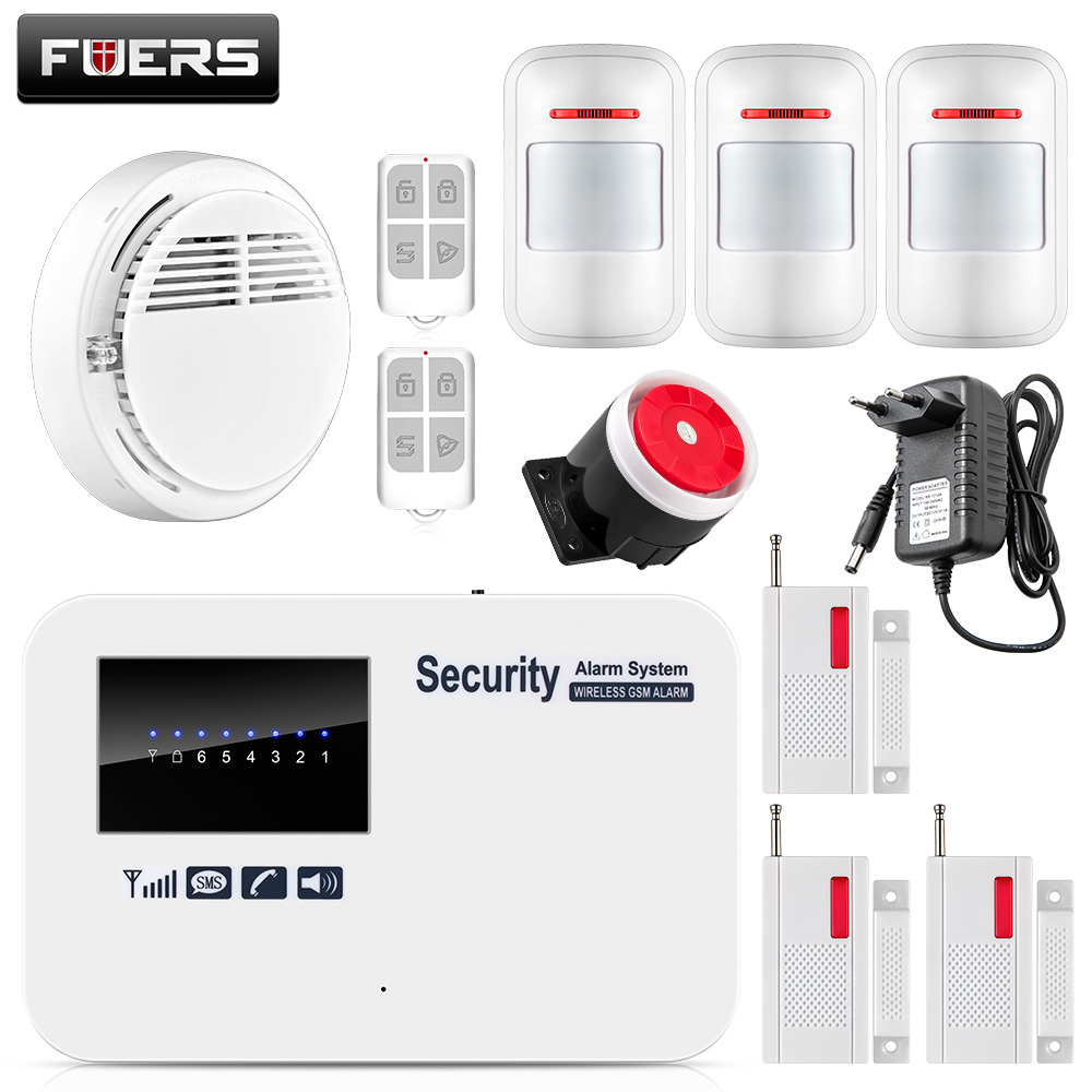 Fuers Wireless Wired GSM Home Security Alarm System ISO Android APP Control with Smoke Detector Voice Prompt Alarm System fuers smart app control wireless wired home gsm sms security alarm system auto dial with infrared detector door open reminder