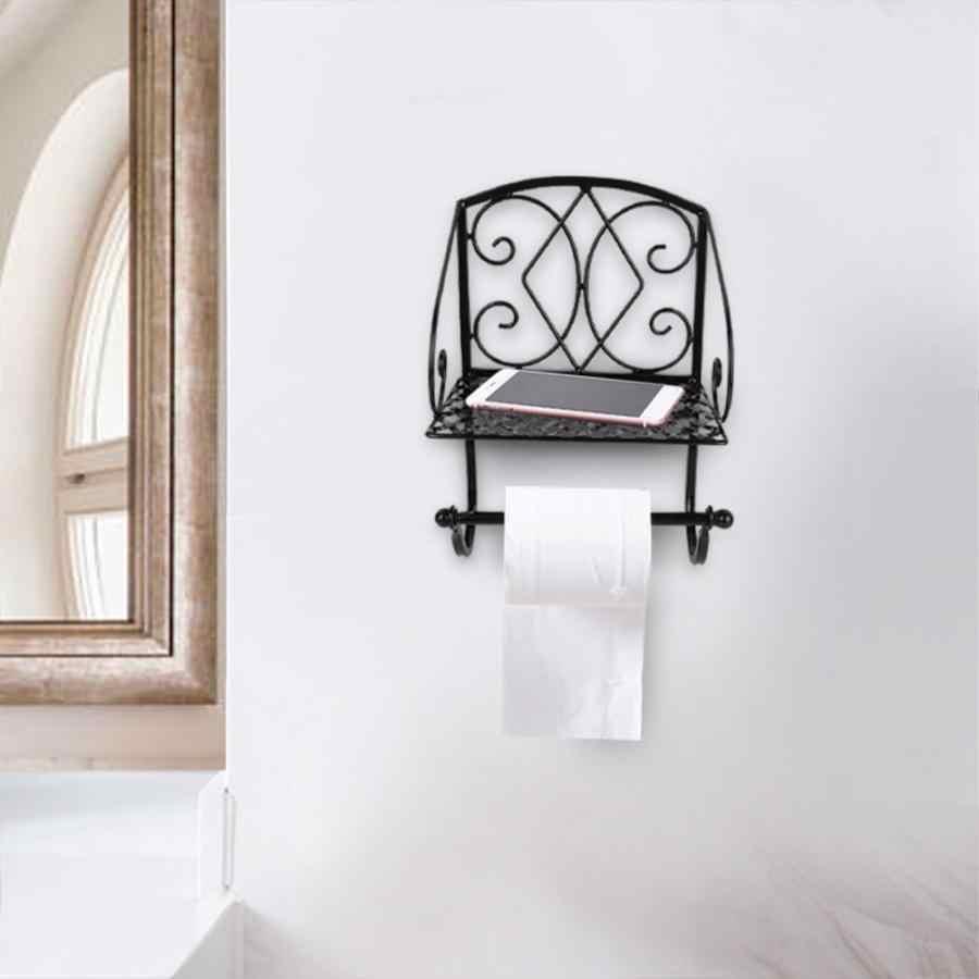 Креативная железная Туалетная рулонная бумага держатель с полкой Ретро бумажная вешалка для полотенца для принадлежности для ванной комнаты хранилище для туалетной бумаги