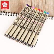 SAKURA 1 шт Микрон ручка многоцветный 0,25 мм 0,45 мм маркер акварельные маркеры вкладыши для рисования Dessin Sketch Rotulador 0105