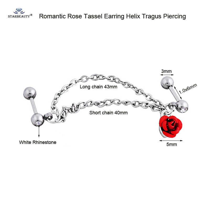 Starbeauty rosa vermelha dupla borla brincos helix piercing tragus piercing cartilagem brincos nariz de aço inoxidável anel da orelha jóias