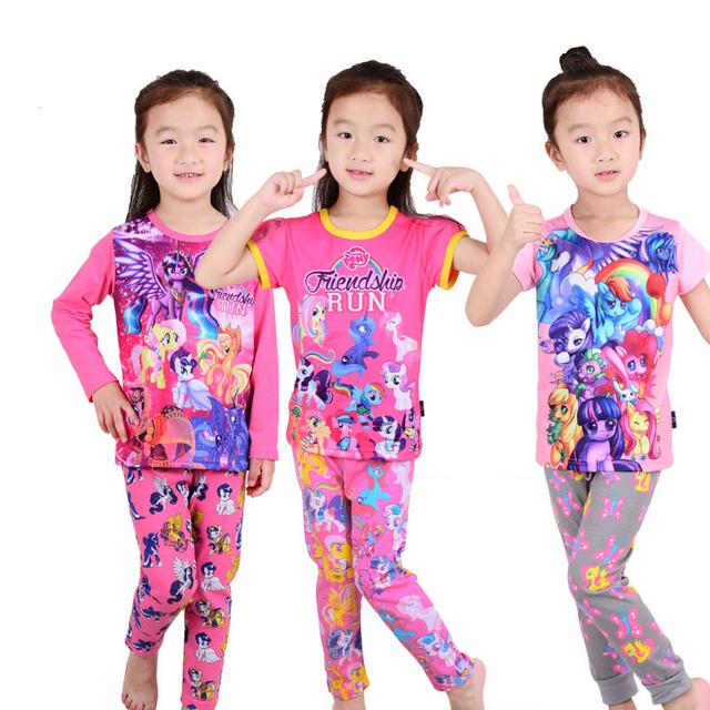 ¡ Caliente! 2016 nuevo pony ropa ropa niñas establece niños Pijamas pijamas niños 2 unidades de dormir home moda Ma Baoli super mario
