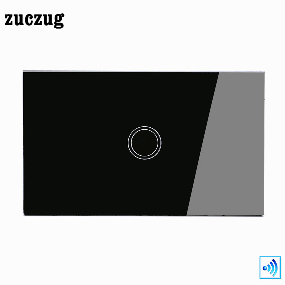 Zuczug US Remote Control Switch, Luxury Black Glass Panel Wall RF Switch, 1 Gang 1 Way Wireless Remote Home light Switch 2017 smart home crystal glass panel wall switch wireless remote light switch us 1 gang wall light touch switch with controller
