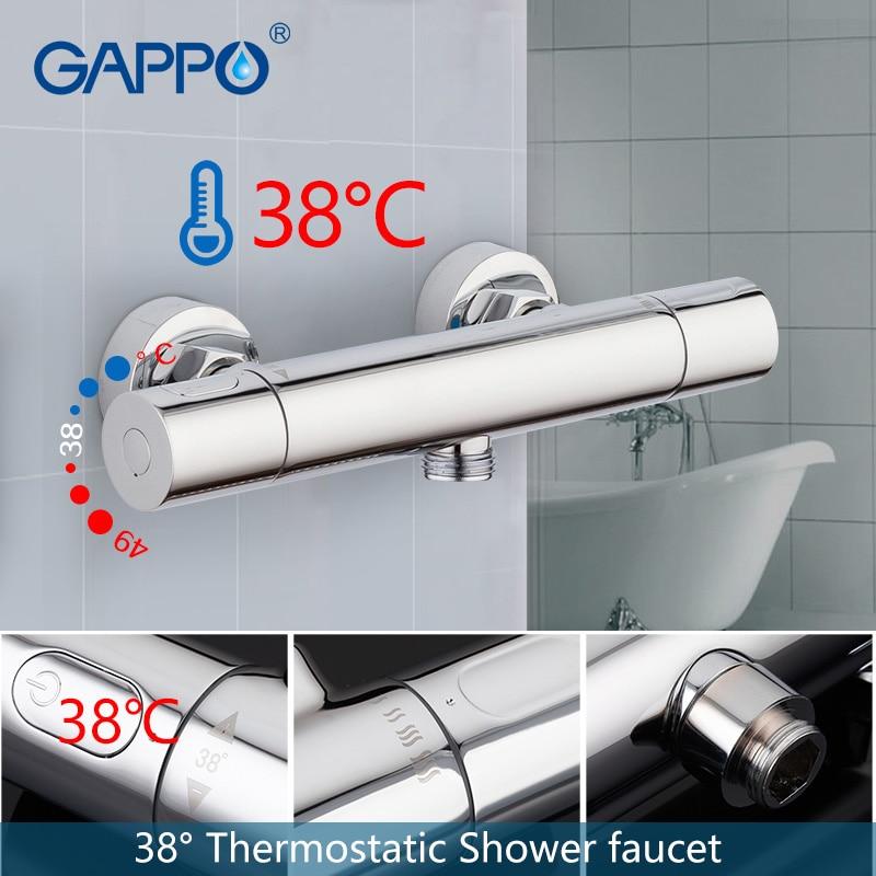 GAPPO bathroom shower faucet set thermostatic shower chrome wall mounted thermostat shower mixer tap bathtub faucet bath tub tap