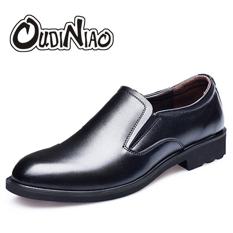 OUDINIAO Mens Shoes Casual Spring Round Toe Slip On Shoes Men Loafers Italian Split Leather Men Shoes Luxury 2018 Black Brown flat bottomed luxury mens loafers mark thread heel cover pedal leather strappy solid italian cowhide slip resistant soft leather