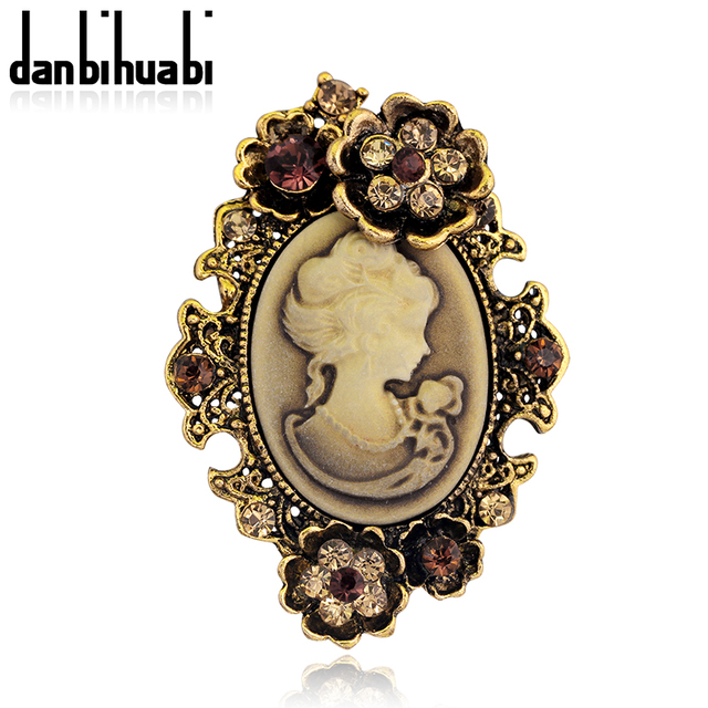Cameo Brooch Silver Gold Vintage Brooches Pretty Beauty Queen Rhinestone Pin  For Women Luxurious Palace Jewelry f9d7eb4857ec
