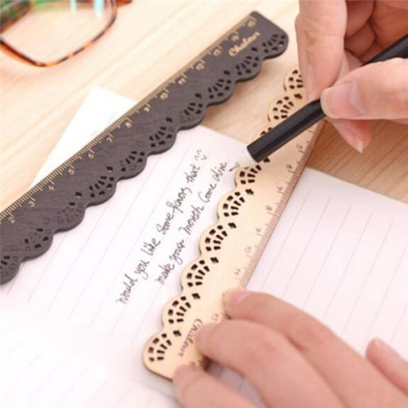 Kawaii Vintage Sweet Lace Sculpture Brown Wood Ruler Retro Black Ruler For Kid Gift Cute Stationery Office School Supplies