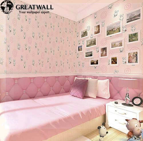 Great Wall Kids Wallpaper Girls And Boys Bedroom Paper Mural Animal Print 3 Colors Pink