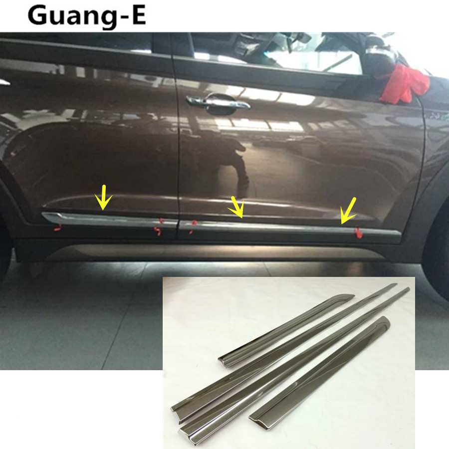 car styling cover detector ABS chrome Side Door Body trim stick Strip Molding parts 4pcs For Hyundai Tucson 2015 2016 2017 accessories fit for 2013 2014 2015 2016 hyundai grand santa fe side door line garnish body molding trim cover