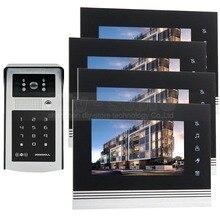 DIYSECUR 7 inch Touch Button Video Door Phone Intercom Doorbell IR Night Vision HD 300000 Pixels Camera 1V4