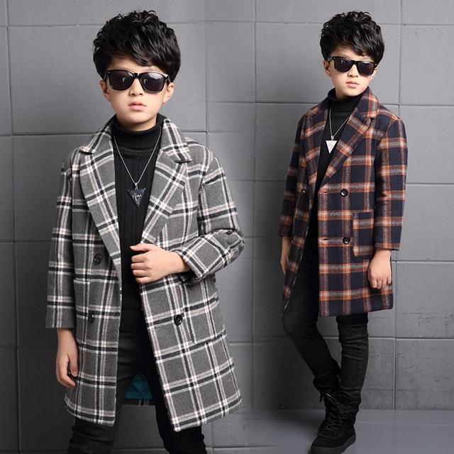 2016 Spring Autumn Winter Boys Woolen Coat Long Section Warm Slim Coat Big Virgin Baby Boy Clothes British Style Boy Jacket B476