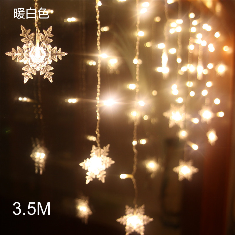 3.5M Snowflake LED Curtain Light LED Fairy String Light Christmas New Year Wedding Festival Party Indoor Decor Free Shipping