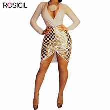 Plus Size Dress Women Sexy Evening Deep V neck Gold Foil Plaid Party Dress Women Clothing