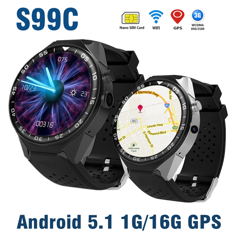 S99C 3G WIFI GPS Smart Watch Android 5.1 Bluetooth Phone Watch Camera RAM1G ROM 16G Heart Rate Tracker Smartwatch Video SIM Card ollin professional bionika спрей кондиционер для натуральных волос normal hair spray conditioner 250 мл