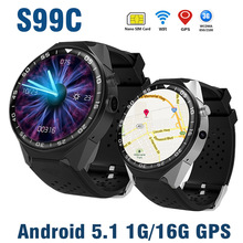 Купить с кэшбэком S99C 3G WIFI GPS Smart Watch Android 5.1 Bluetooth Phone Watch Camera RAM1G ROM 16G Heart Rate Tracker Smartwatch Video SIM Card