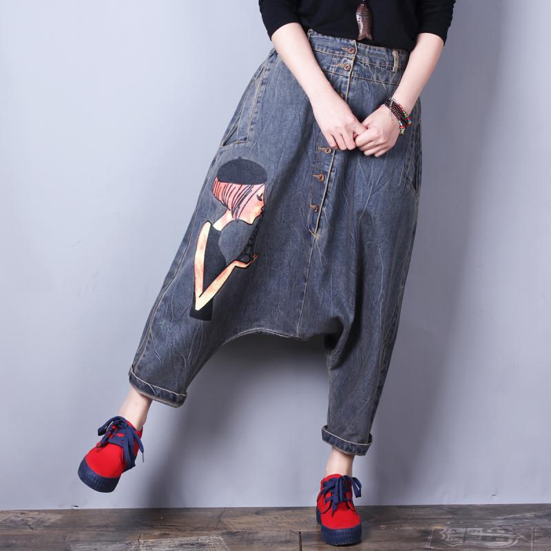 Gratuite Pantalons Jeans Pantalon Impression Qualité Denim Haute Bleu Pour Livraison Longueur Mode Bermuda Supérieure Harem Femmes 2019 Cheville USPqxg0d
